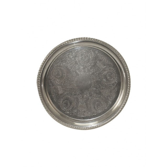 20 in Round Silver Serving Tray