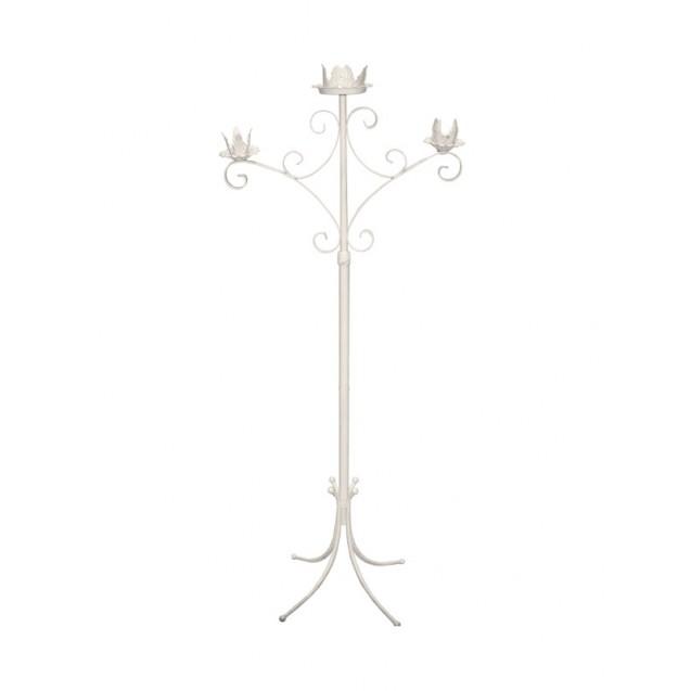 3 Branch Brass/White Candelabra