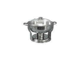 4 Quart Stainless Steel Round Server With Glass Lid