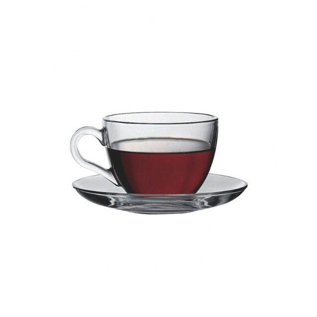 Clear Glass Coffee Cup w/ Saucer