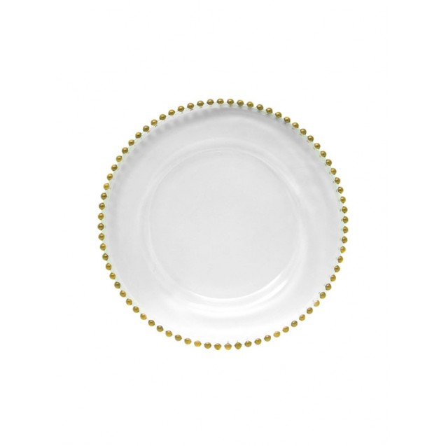 Embassy Gold-Beaded Glass Charger