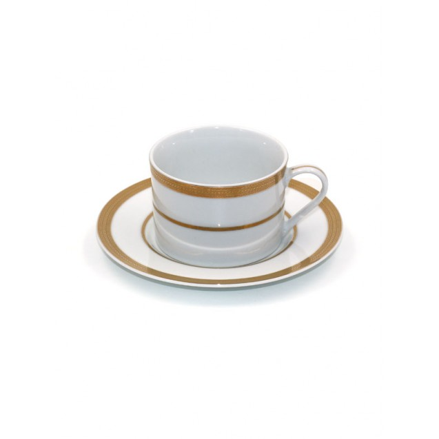 Gold Trim Coffee Cup w/ Saucer