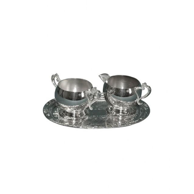 Silver Coffee Creamer, Sugar Bowl & Tray