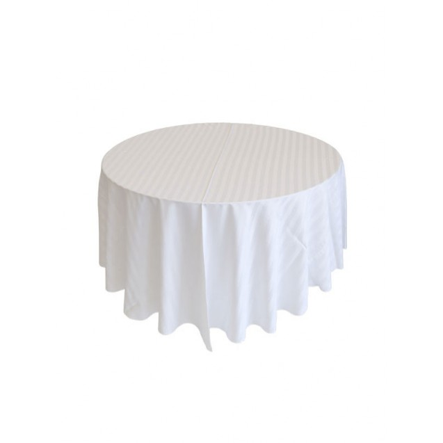 "102"" Round Satin Striped Table Linens"