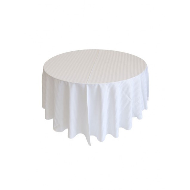 "108"" Round Satin Striped Table Linens"