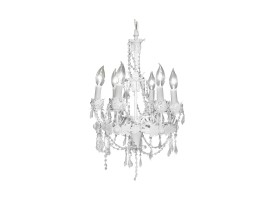 White Chandelier w/ Crystal Beads